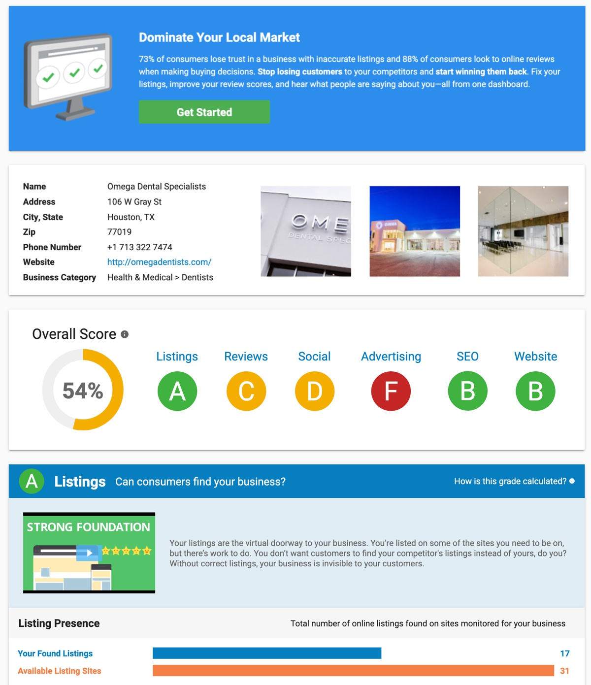 Alignment Online Marketing Snapshot Report Sample